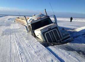 Truck trapped under ice in Canada
